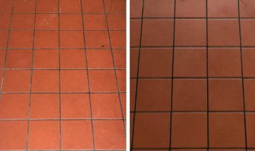 Quarry tiles, before and after cleaning and sealing