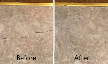 Natural stone crack repair to floor tile